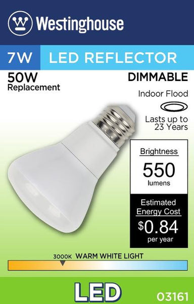 7 Watt (Replaces 50 Watt) Reflector Flood Dimmable LED Light Bulb, ENERGY STAR, 3000K Warm White E26 (Medium) Base, 120 Volt, Box - Lighting Getz