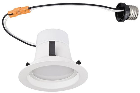 8 Watt (Replaces 65 Watt) 4-Inch Dimmable Recessed LED Downlight, ENERGY STAR, 2700K Warm White E26 (Medium) Base Socket Adapter, 120 Volt, Contractor Box