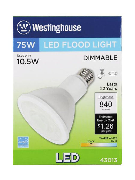 10-1/2 Watt (Replaces 75 Watt) PAR30 Long Neck Reflector Flood Dimmable LED Light Bulb, ENERGY STAR, 3000K Warm White E26 (Medium) Base, 120 Volt Box - Lighting Getz