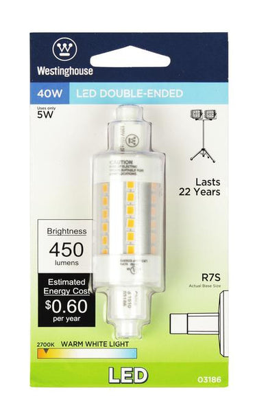 5 Watt (Replaces 40 Watt) Double-Ended LED Light Bulb, 2700K Warm White RSC Base, 120 Volt, Card - Lighting Getz