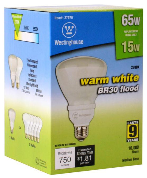 15 Watt BR30 CFL Light Bulb, 2700K Warm White E26 (Medium) Base, Box - Lighting Getz