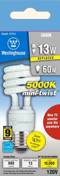 13 Watt Mini-Twist CFL Light Bulb, 5000K Daylight E26 (Medium) Base, Box - Lighting Getz