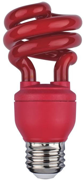 13 Watt Mini-Twist CFL Light Bulb, Red E26 (Medium) Base, Box - Lighting Getz