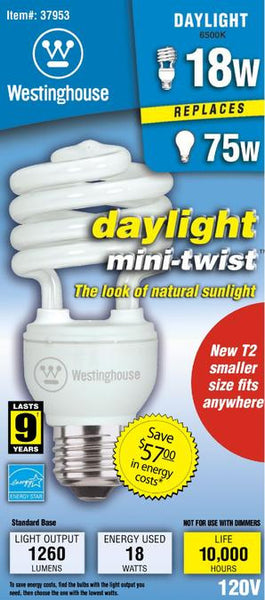 18 Watt Mini-Twist CFL Light Bulb, 6500K Daylight E26 (Medium) Base, Box - Lighting Getz