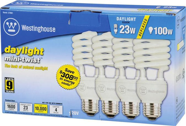 23 Watt Mini-Twist CFL Light Bulb, 6500K Daylight E26 (Medium) Base, Box (4-Pack) - Lighting Getz