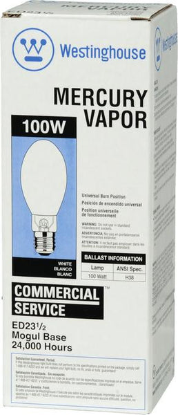 100 Watt ED23 1/2 HID Mercury Vapor Light Bulb, 4000K White E39 (Mogul) Base, Box - Lighting Getz