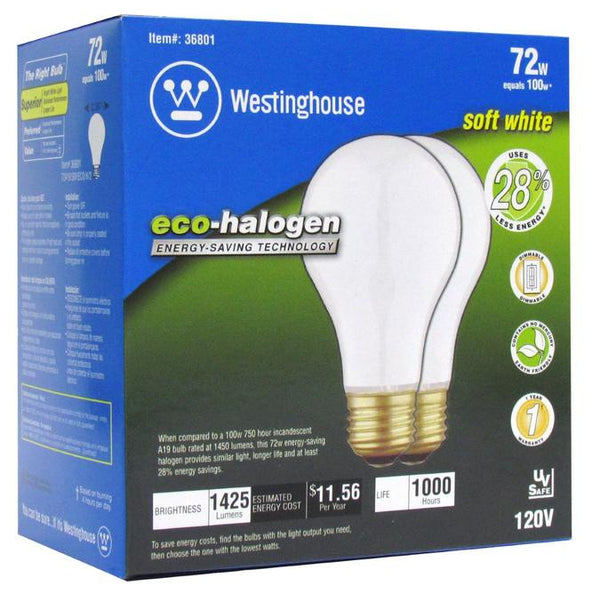 72 Watt A19 Eco-Halogen Light Bulb, 3000K Soft White E26 (Medium) Base, Box (2-Pack) - Lighting Getz