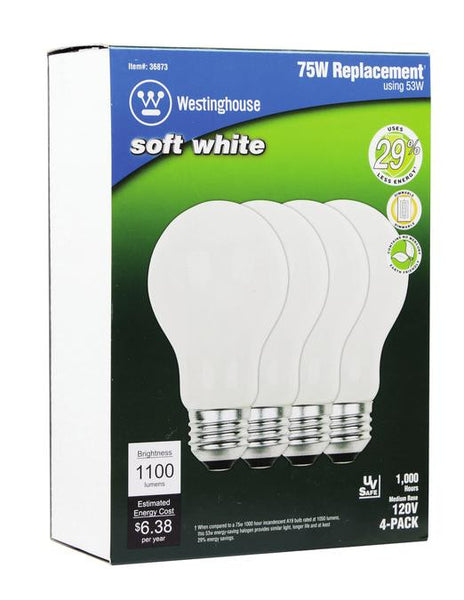 53 (Replaces 75 Watt) Watt A19 Eco-Halogen Light Bulb, 2900K Soft White E26 (Medium) Base, Box (4-Pack) - Lighting Getz