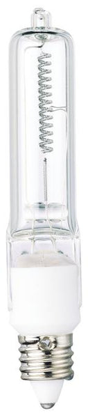 150 Watt Halogen T4 Single-Ended Light Bulb, 3000K Clear Mini-Can Base, 120 Volt, Card - Lighting Getz