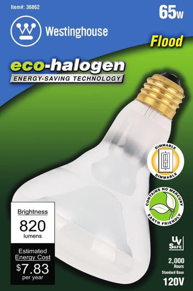65 Watt BR30 Flood Eco-Halogen Light Bulb, 3000K Frost E26 (Medium) Base, 120 Volt, Box - Lighting Getz