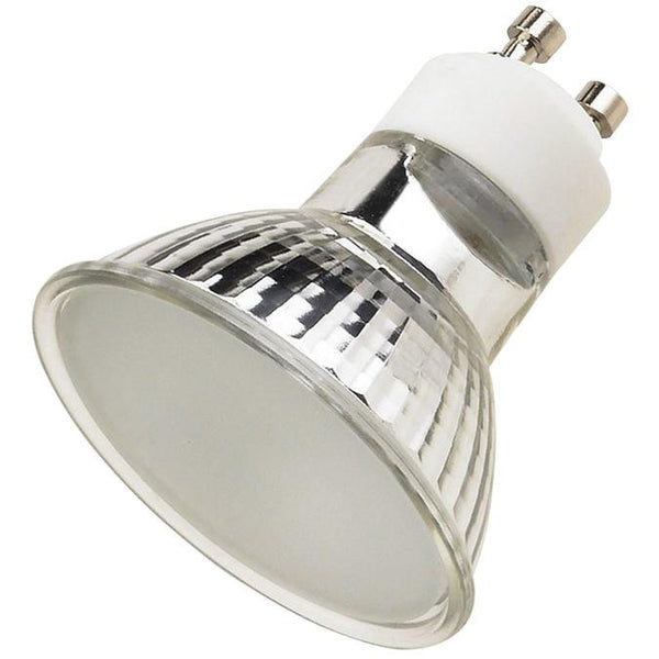 50 Watt MR16 Halogen Flood Light Bulb, 3050K Frost Lens GU10 Base, 120 Volt, Card - Lighting Getz