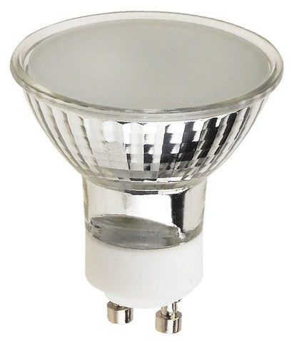50 Watt MR16 Halogen Flood Light Bulb, 3050K Frost Lens GU10 Base, 120 Volt, Card