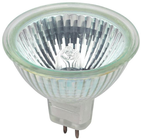 50 Watt MR16 Halogen Clear Lens Low Voltage Flood Light Bulb, 3050K GU5.3 Base, 12 Volt, Box