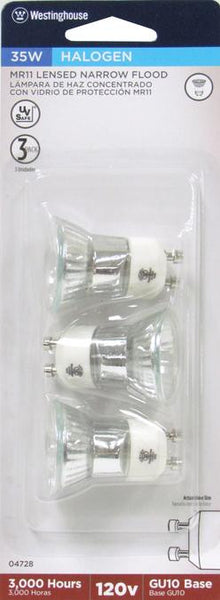 35 Watt MR11 Halogen Clear Lens Narrow Flood Light Bulb, 3000K GU10 Base, 120 Volt, Card - Lighting Getz