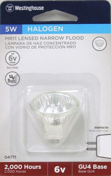 5 Watt MR11 Halogen Low Voltage Narrow Flood Light Bulb, 2900K Clear Lens GU4 Base, 6 Volt, Card - Lighting Getz