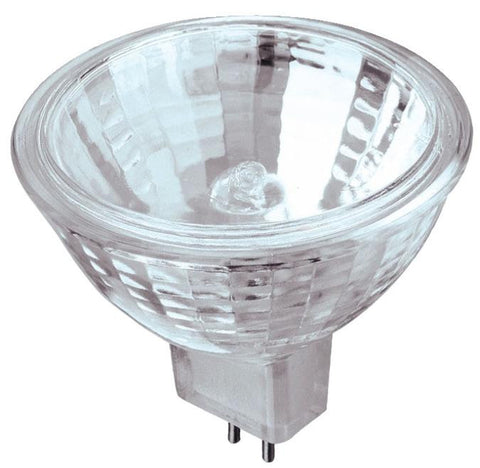 20 Watt MR16 Halogen Low Voltage Flood Light Bulb, 2950K Clear Lens GU5.3 Base, 12 Volt, Card