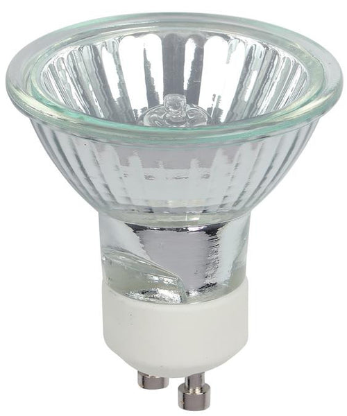 25 Watt MR16 Halogen Clear Lens Flood Light Bulb, 3050K GU10 Base, 120 Volt, Card - Lighting Getz