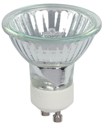 25 Watt MR16 Halogen Clear Lens Flood Light Bulb, 3050K GU10 Base, 120 Volt, Card