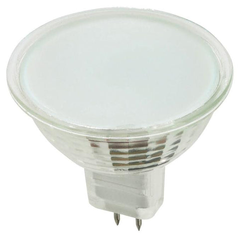 50 Watt MR16 Halogen Low Voltage Flood Light Bulb, 2950K Frost Lens GU5.3 Base, 12 Volt, Card