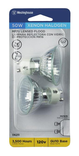 50 Watt MR16 Halogen Xenon Flood Light Bulb, 3050K Clear Lens GU10 Base, 120 Volt, Card (2-Pack) - Lighting Getz