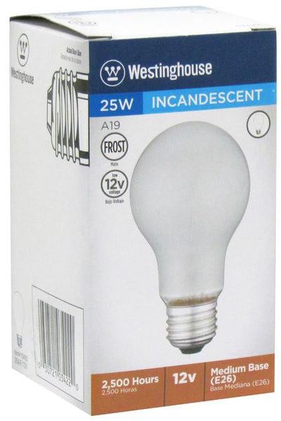 25 Watt A19 Incandescent Low Voltage Light Bulb, 2700K Frost E26 (Medium) Base, 12 Volt, Box - Lighting Getz