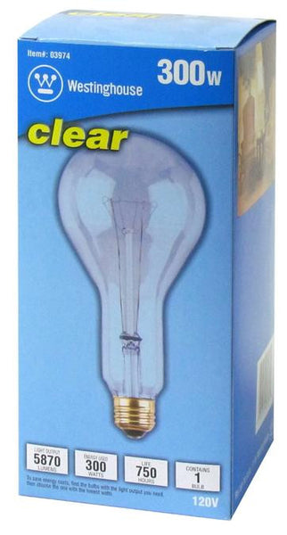 300 Watt PS30 Incandescent Light Bulb, 2850K Clear E26 (Medium) Base, 120 Volt, Box - Lighting Getz