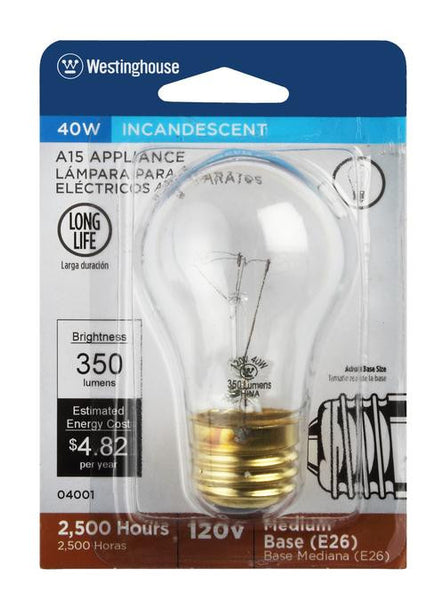 40 Watt A15 Incandescent Appliance Light Bulb, 2700K Clear E26 (Medium) Base, 120 Volt, Card - Lighting Getz