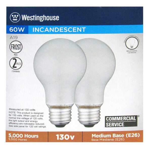 60 Watt A19 Incandescent Vibration Resistant Light Bulb, 2700K Frost E26 (Medium) Base, 130 Volt, Box (2-Pack) - Lighting Getz