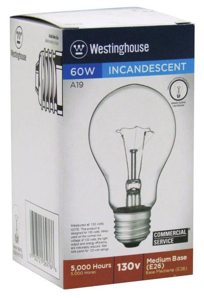 60 Watt A19 Incandescent Vibration Resistant Light Bulb, 2700K Clear E26 (Medium) Base, 130 Volt, Box - Lighting Getz