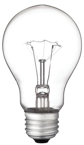 60 Watt A19 Incandescent Vibration Resistant Light Bulb, 2700K Clear E26 (Medium) Base, 130 Volt, Box