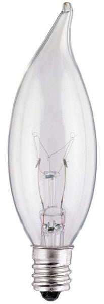 25 Watt CA8 Flame Tip Incandescent Light Bulb, 2700K Clear E12 (Candelabra) Base, 120 Volt, Box - Lighting Getz