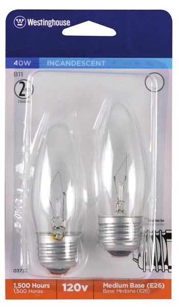 40 Watt B11 Torpedo Incandescent Light Bulb, 2700K Clear E26 (Medium) Base, 120 Volt, Card (2-Pack) - Lighting Getz