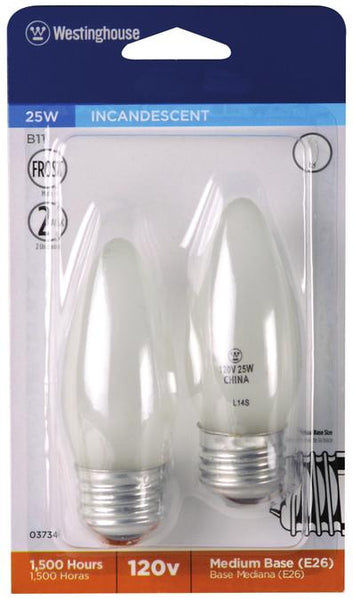 25 Watt B11 Torpedo Incandescent Light Bulb, 2700K Frost E26 (Medium) Base, 120 Volt, Card (2-Pack) - Lighting Getz