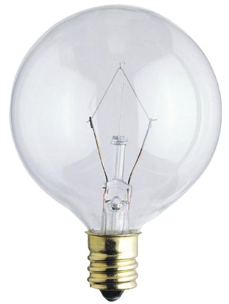 40 Watt G16 1/2 Incandescent Light Bulb, 2650K Clear E12 (Candelabra) Base, 130 Volt, Box - Lighting Getz