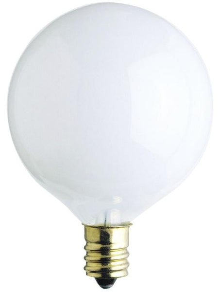 25 Watt G16 1/2 Incandescent Light Bulb, 2650K White E12 (Candelabra) Base, 130 Volt, Box - Lighting Getz