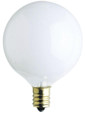 25 Watt G16 1/2 Incandescent Light Bulb, 2650K White E12 (Candelabra) Base, 130 Volt, Box