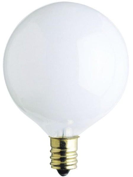 60 Watt G16 1/2 Incandescent Light Bulb, 2650K White E12 (Candelabra) Base, 120 Volt, Card (2-Pack) - Lighting Getz