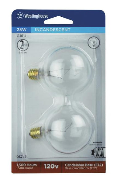 25 Watt G16 1/2 Incandescent Light Bulb, 2650K Clear E12 (Candelabra) Base, 120 Volt, Card (2-Pack) - Lighting Getz
