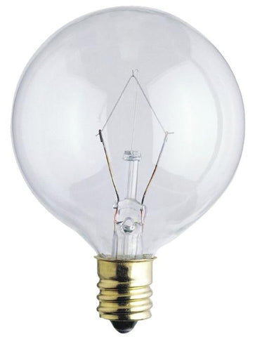 25 Watt G16 1/2 Incandescent Light Bulb, 2650K Clear E12 (Candelabra) Base, 120 Volt, Card (2-Pack)