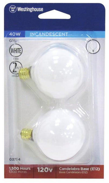 40 Watt G16 1/2 Incandescent Light Bulb, 2650K White E12 (Candelabra) Base, 120 Volt, Card (2-Pack) - Lighting Getz