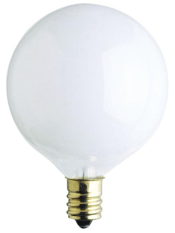 40 Watt G16 1/2 Incandescent Light Bulb, 2650K White E12 (Candelabra) Base, 120 Volt, Card (2-Pack)