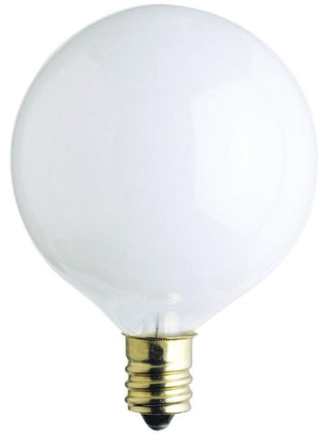 15 Watt G16 1/2 Incandescent Light Bulb, 2650K White E12 (Candelabra) Base, 120 Volt, Box
