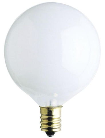 25 Watt G16 1/2 Incandescent Light Bulb, 2650K White E12 (Candelabra) Base, 120 Volt, Box