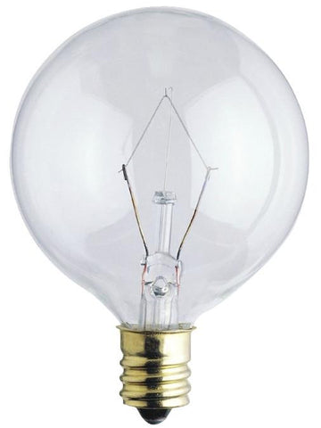 15 Watt G16 1/2 Incandescent Light Bulb, 2650K Clear E12 (Candelabra) Base, 120 Volt, Box