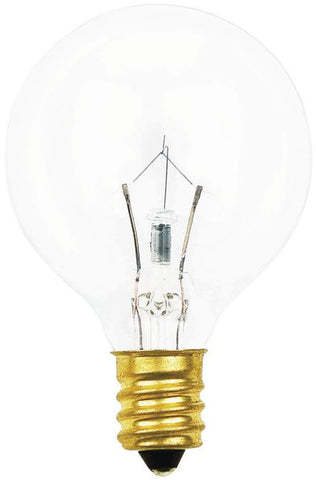 10 Watt G12 1/2 Incandescent Light Bulb, 2700K Clear E12 (Candelabra) Base, 120 Volt, Box