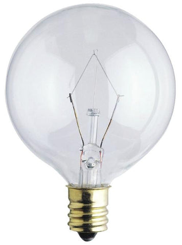 60 Watt G16 1/2 Incandescent Light Bulb, 2650K Clear E12 (Candelabra) Base, 120 Volt, Box