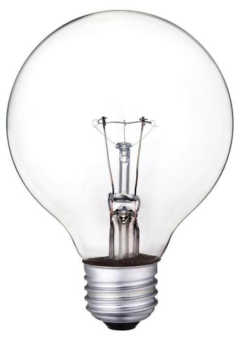 25 Watt G25 Incandescent Light Bulb, 2700K Clear E26 (Medium) Base, 130 Volt, Box