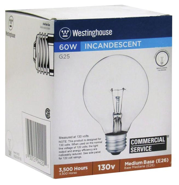 60 Watt G25 Incandescent Vibration Resistant Light Bulb, 2700K Clear E26 (Medium) Base, 130 Volt, Box - Lighting Getz