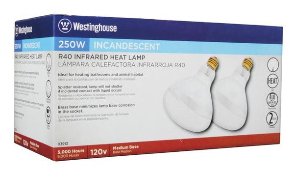 250 Watt R40 Incandescent Infrared Heat Light Bulb, 2400K Clear E26 (Medium) Base, 120 Volt, Box (2-Pack) - Lighting Getz