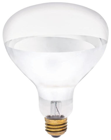 250 Watt R40 Incandescent Light Bulb, 2400K Clear Infrared Heat Flood E26 (Medium) Base, Box